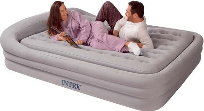 intex queen size comfort frame air bed in grey with handheld pump the air bed thatu0027s so comfortable can also be used as a permanent sleeping solution to