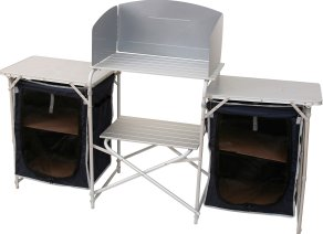 Deluxe camp kitchen complete with folding larders