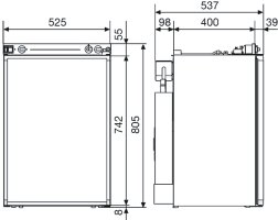 Dimensions For The RM 4400 And RM 4401 Dometic Fridges
