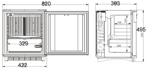 Freestanding front and side view dimensions of the ds200 minibar dometic fridge