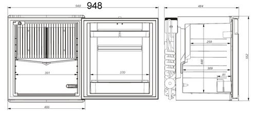 Front and side fridge view dimensions of the ds600 dometic minibar minicool silencio