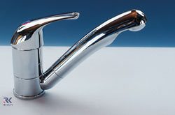 Chrome Reich kama mixer tap with 360 swivelling spout to be used in caravans