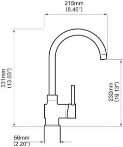 Dimensions of the Whale swan neck caravan and motorhome kitchen tap