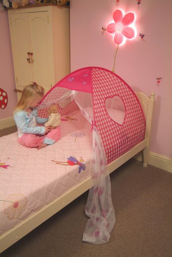 Girls Pink Little Hearts pop up Bed Tent toy & Childrens pop up bed Tents little hearts UK