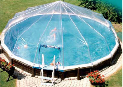 Fabrico sun dome above ground swimming pool enclosures for Above ground pool cover ideas