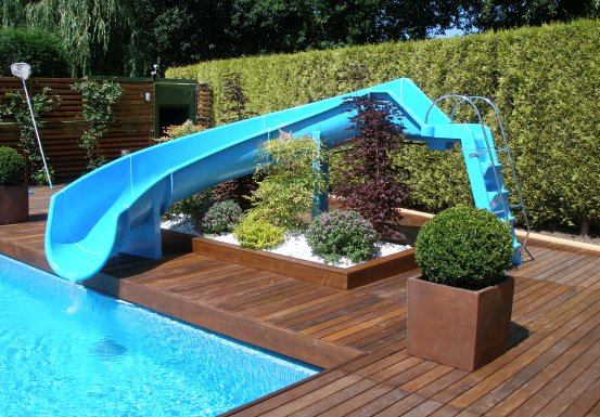 Sr smith swimming pool slides and flumes uk for Swimming pool designs with slides